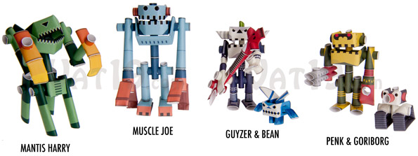 Choose from several styles of Piperoid Paper Robots.