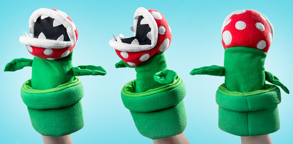 Multiple views of the piranha plant puppet