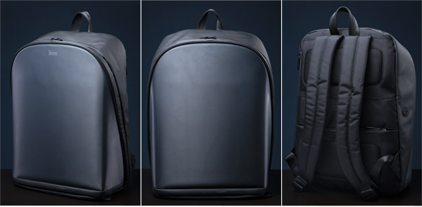 Multiple views of the backpack showing 4 internal pockets, a bottle holder loop, a side access tablet pocket, a document pocket, an earbud cable port, a luggage handle strap, and an internal laptop pocket