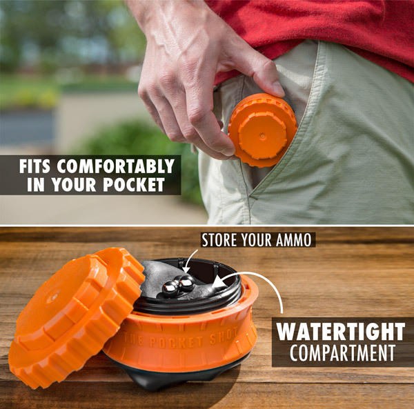Store your ammo in the watertight compartment and fit it comfortably in your pocket.