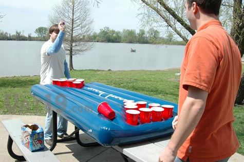 Portopong Beer Pong Table on a picnic bench