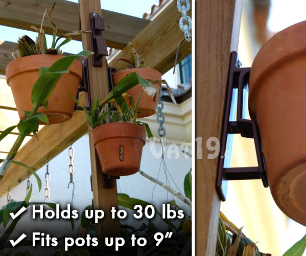 The Pot Latch flower pot hanger allows you to hang terra cotta or clay pots up to 30 lbs and 9 inches across.