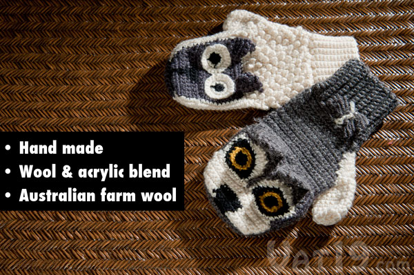 Versus mittens are hand made from a bend of wool and acrylic.