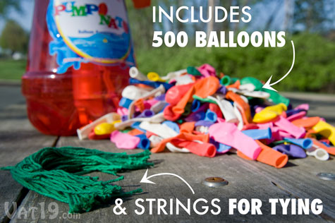 Each Pumponator comes with 500 balloons and strings for tying.
