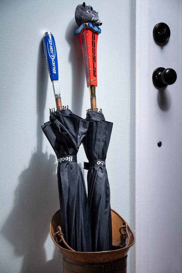 The inside of an umbrella