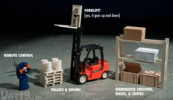 R C Mini Toy Forklift With Rack Pallets Crates And Boxes
