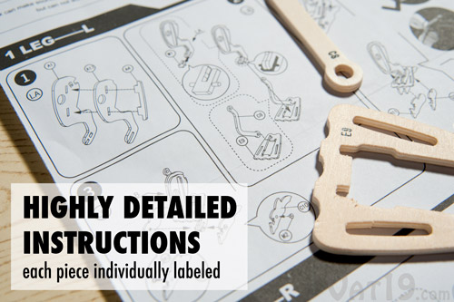 Detailed instructions are included with the Remote Control Robotic Wooden Dinosaur.