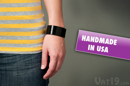 The Recycled Vinyl Record Bracelet is handmade in the USA.