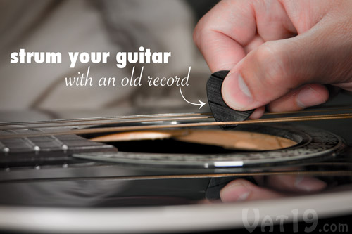 Play your guitar using an old vinyl record.