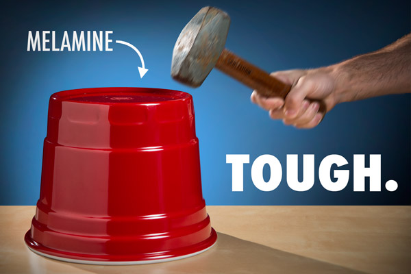 The melamine RedNek Party Bucket can take a literal beating.