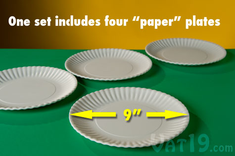 Reusable Paper Plates are sold in sets of 4 plates.