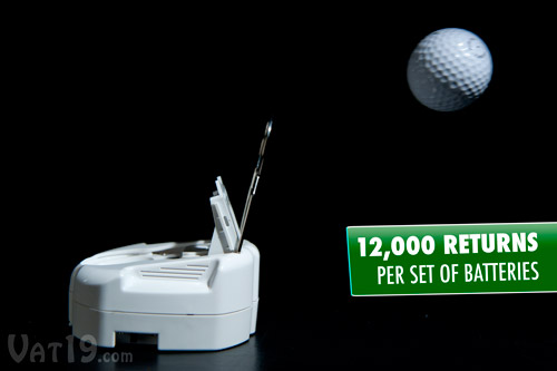 The RoboCup will return up to 12,000 putts per set of batteries.