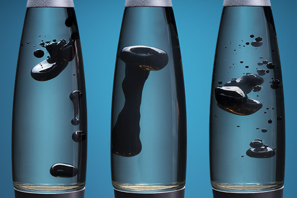 A series of close-up images of ferrofluid reacting to a magnetic field