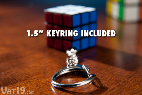 The Rubik's Cube Keyring includes a 1.5 inch long keychain.