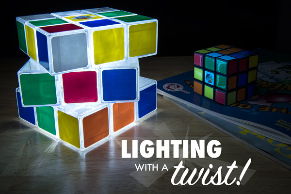 Rubik's Cube Light on a table.