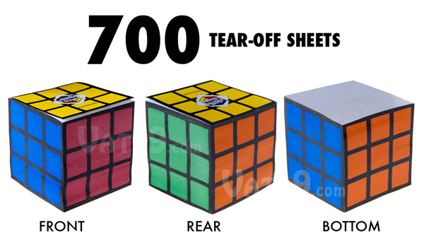 The Rubik's Cube Notepad features 700 tear-off sheets.
