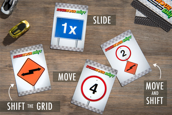 Rush Hour Shift cards include Move, Shift the Grid, Slide, and Move & Shift.