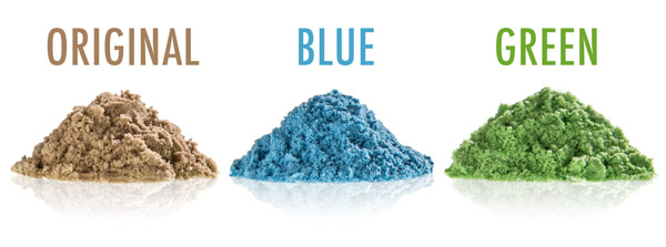Sand is available in three colors: original, blue, and green.