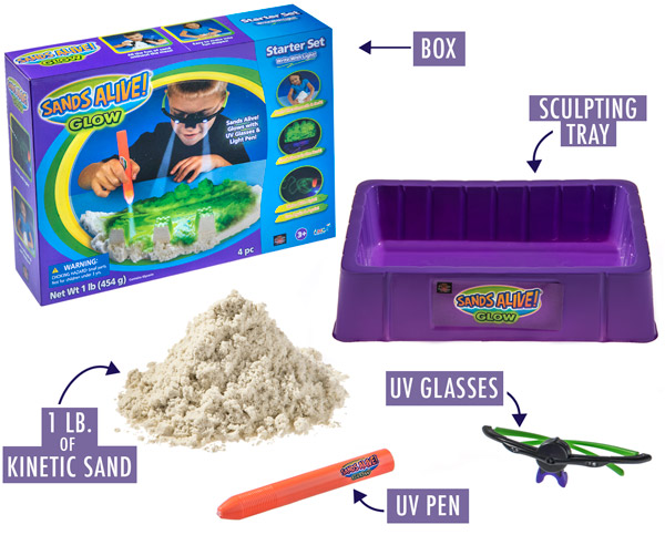 Sculpting tray, UV glasses, pen and one pound of kinetic sand are included in the set.