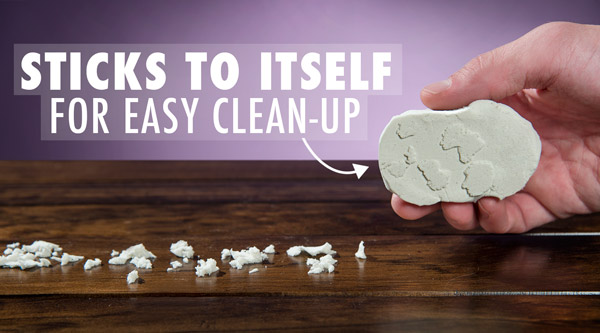 Glow-in-the-Dark Kinetic sand sticks to itself and not your hands so cleanup is easy.