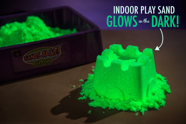 Glow-in-the-dark Kinetic Sand lights up in the dark and is super fun to play with.