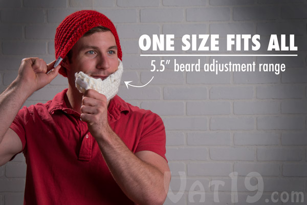 67fbd97b Santa Beardo Beard Hat: Knitted red beanie with detachable white beard.