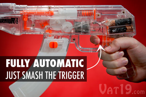 The AK-47 Saturator water gun is fully automatic.