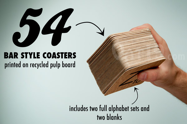Each set includes 54 bar-style coasters.