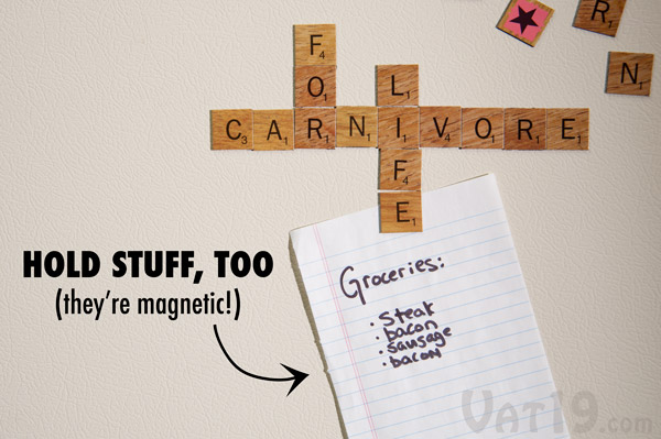 Hang pictures, notes, and reminders with your Scrabble magnetic tiles.
