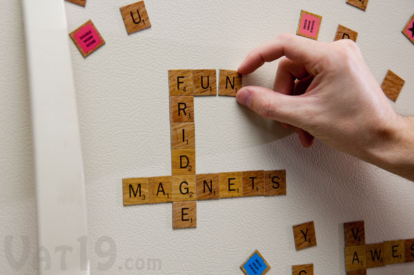Scrabble magnetic refrigerator tiles for Letter fridge magnets game
