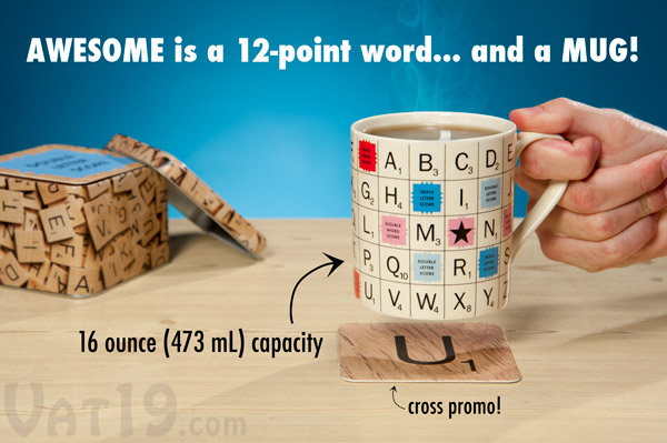 Officially licensed SCRABBLE ceramic tile mug on a table.