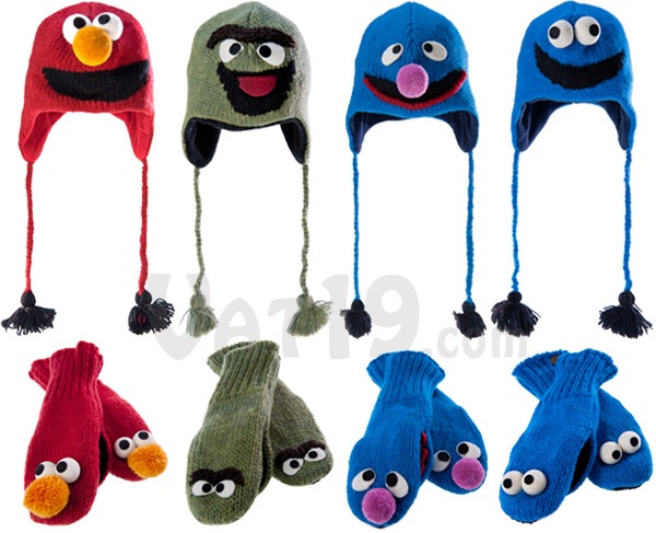 Sesame Street Hats and Mittens are available in Elmo, Oscar, Cookie Monster, and Grover.