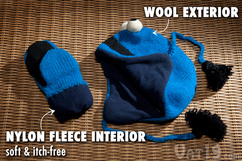 Sesame Street Hats and Mittens are made from a blend of wool and nylon fleece.