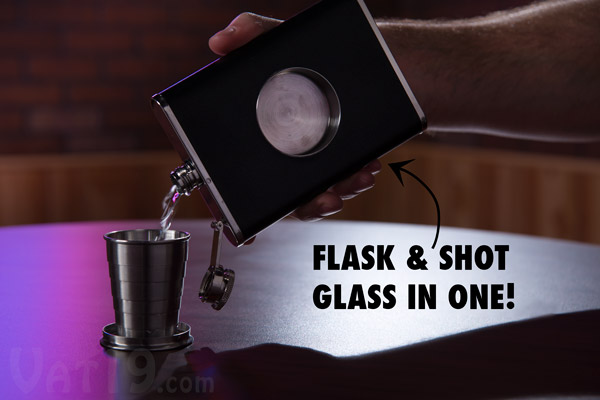 Shot Flask pouring a drink into its integrated telescoping shot glass.