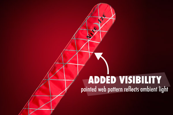 The SlapLit LED Slap Bracelet features a passive reflective spiderweb design.