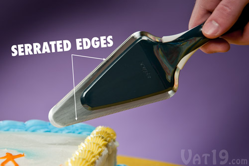 Serrations on both edges of the Slice 'n Slide Cake Server make it perfect for cleanly cutting cakes and pies.