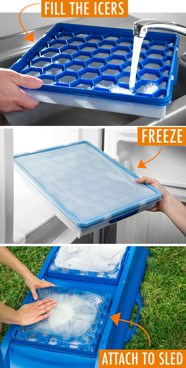 Fill the ice molds, freeze, and attach