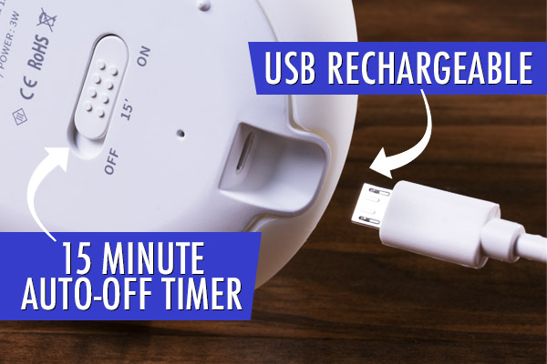 Thanks to its rechargeable battery, Slug Light is portable. It also features an auto-off timer.