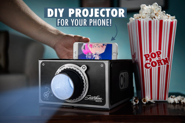 Smartphone projector with popcorn