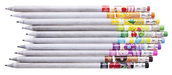 Ten recycled newspaper graphite pencils in ten delicious scents