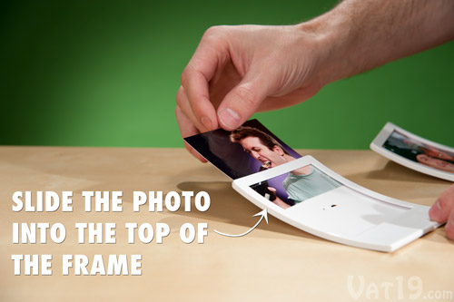 Simply slide your cropped photo into the top of the Snap Frame.