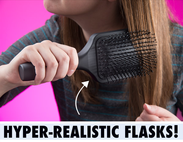 Hyper-realistic hairbrush flask