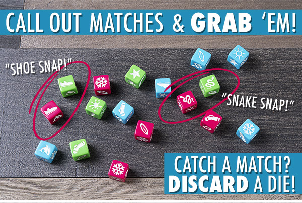 Roll Your Dice; Match & Grab; then eliminate your dice to win!