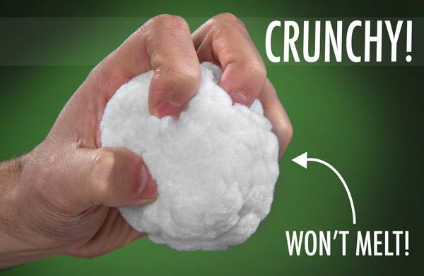 Hand crunching a Snowtime Snowball