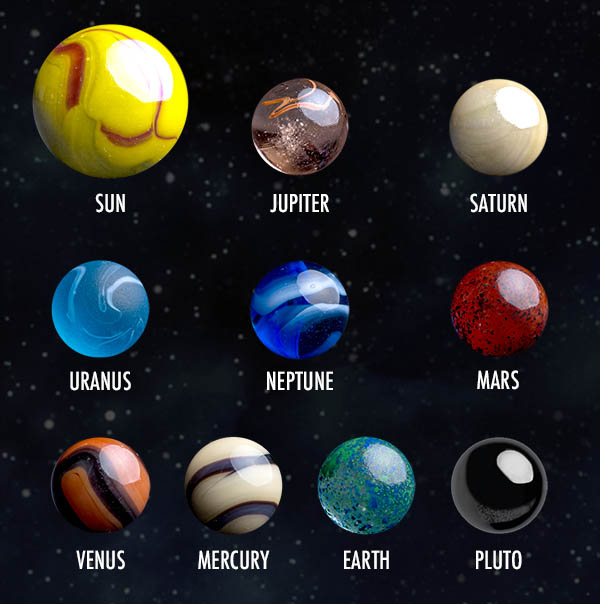 Comparison of the marble set and images of the astronomical objects they represent