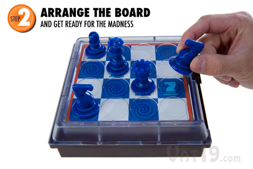 Arrange the board according to the illustration on the Solitaire Chess challenge card.