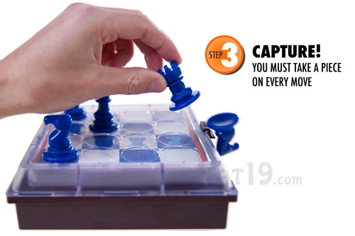 To win the Solitaire Chess puzzle challenge, you must capture a piece on every move.
