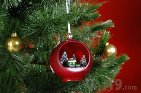Sparkling Christmas Ornament On A Tree