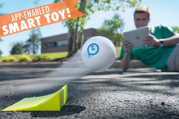 Sphero ball launches off of the included ramp
