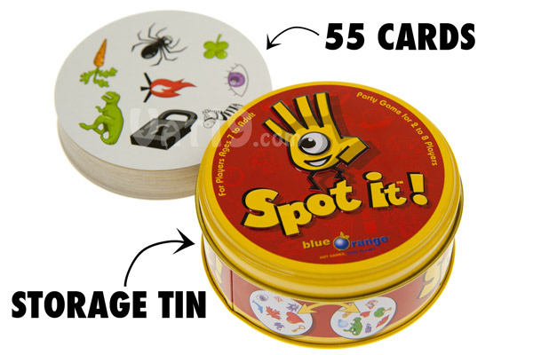 Spot It features 55 illustrated cards and a storage tin.
